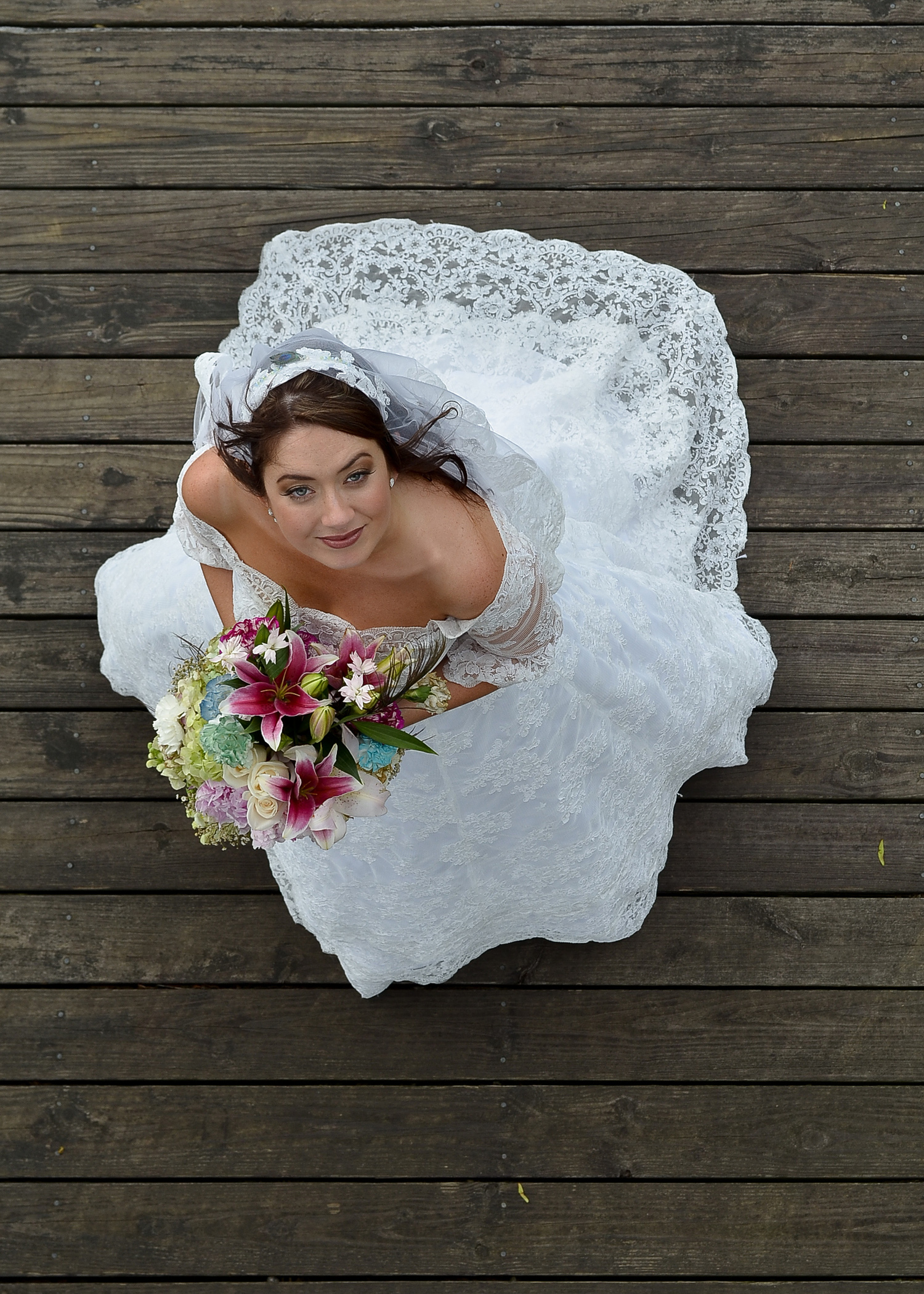 Bridal portrait. Riverwalk in downtown Wilmington, NC.