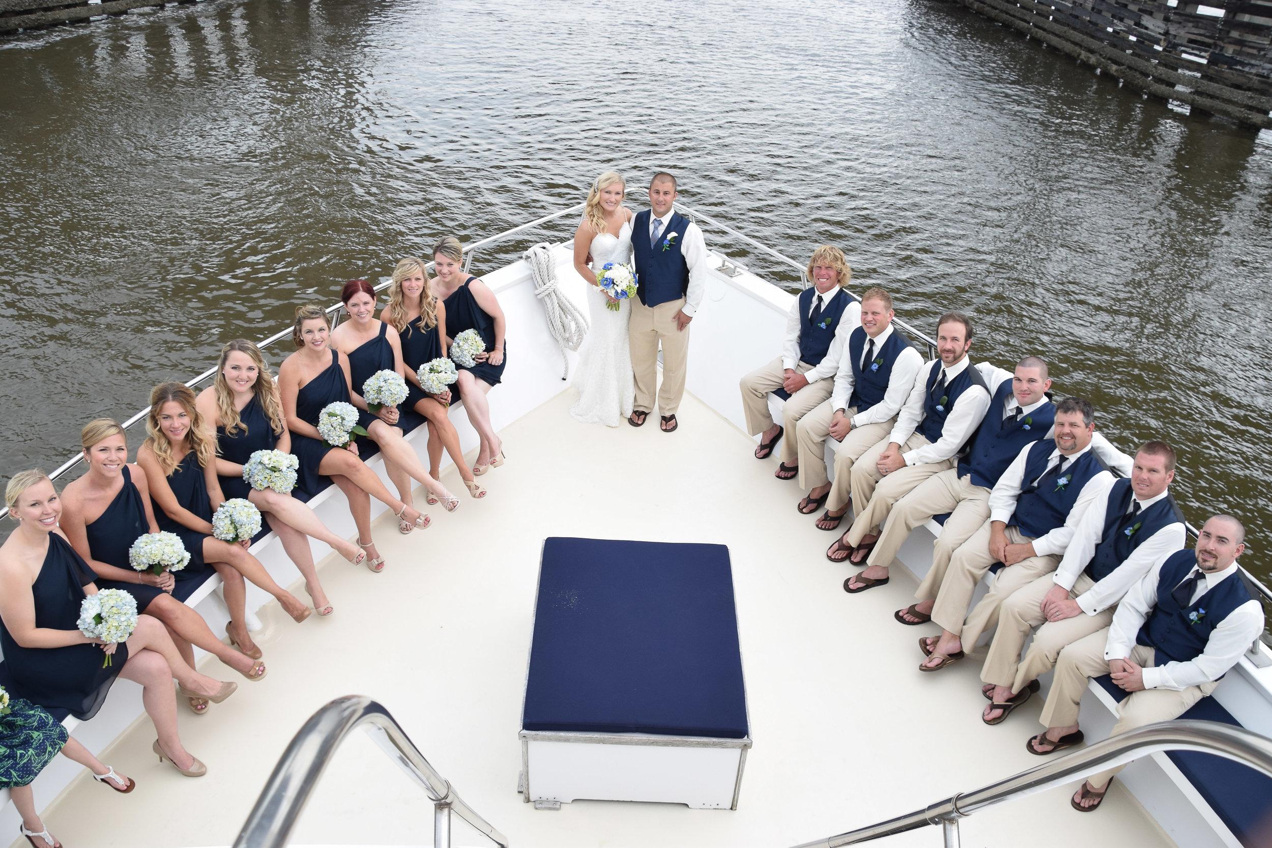 Bridal Party aboard the Carolina Girl in Charleston, SC.