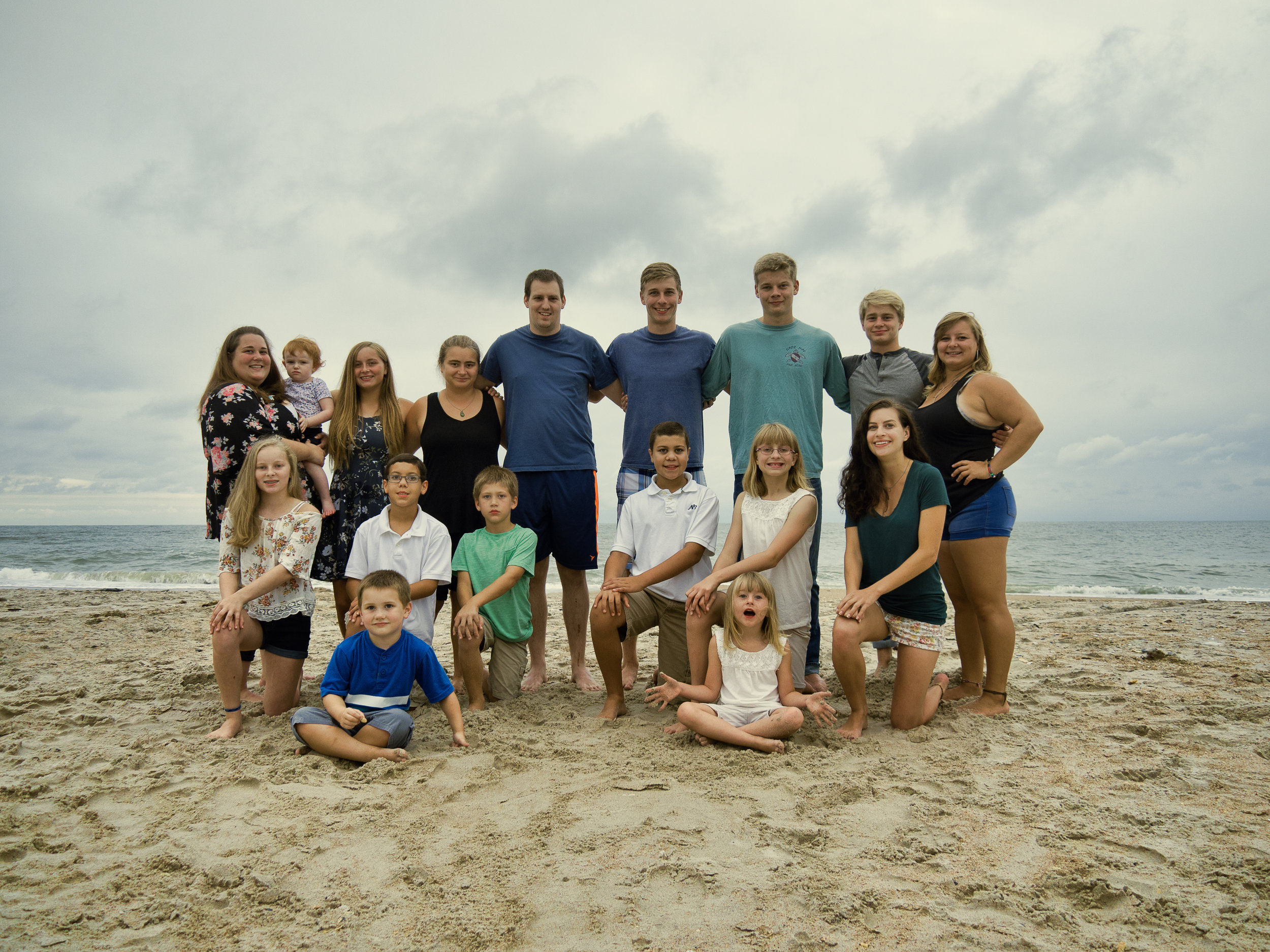 - Family grouping on North Topsail Beach, NC.