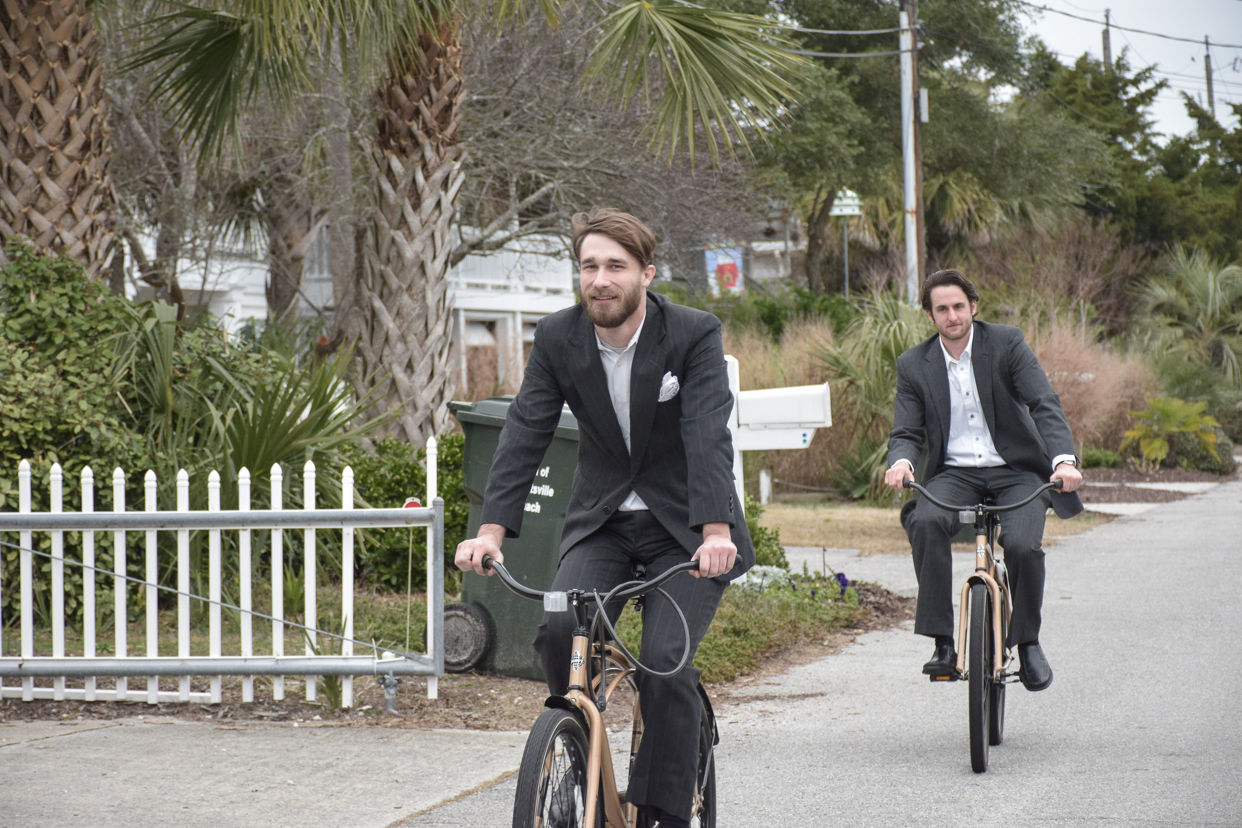 - Groomsmen on bicycles. Wrightsville Beach, NC.