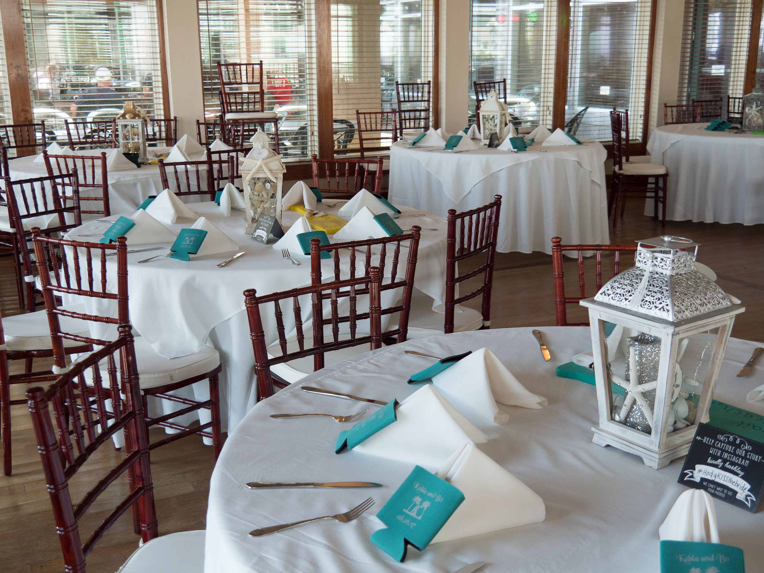 - Table settings for wedding at the Isles Restaurant in Ocean Isle Beach, NC. Billy Beach Photography.