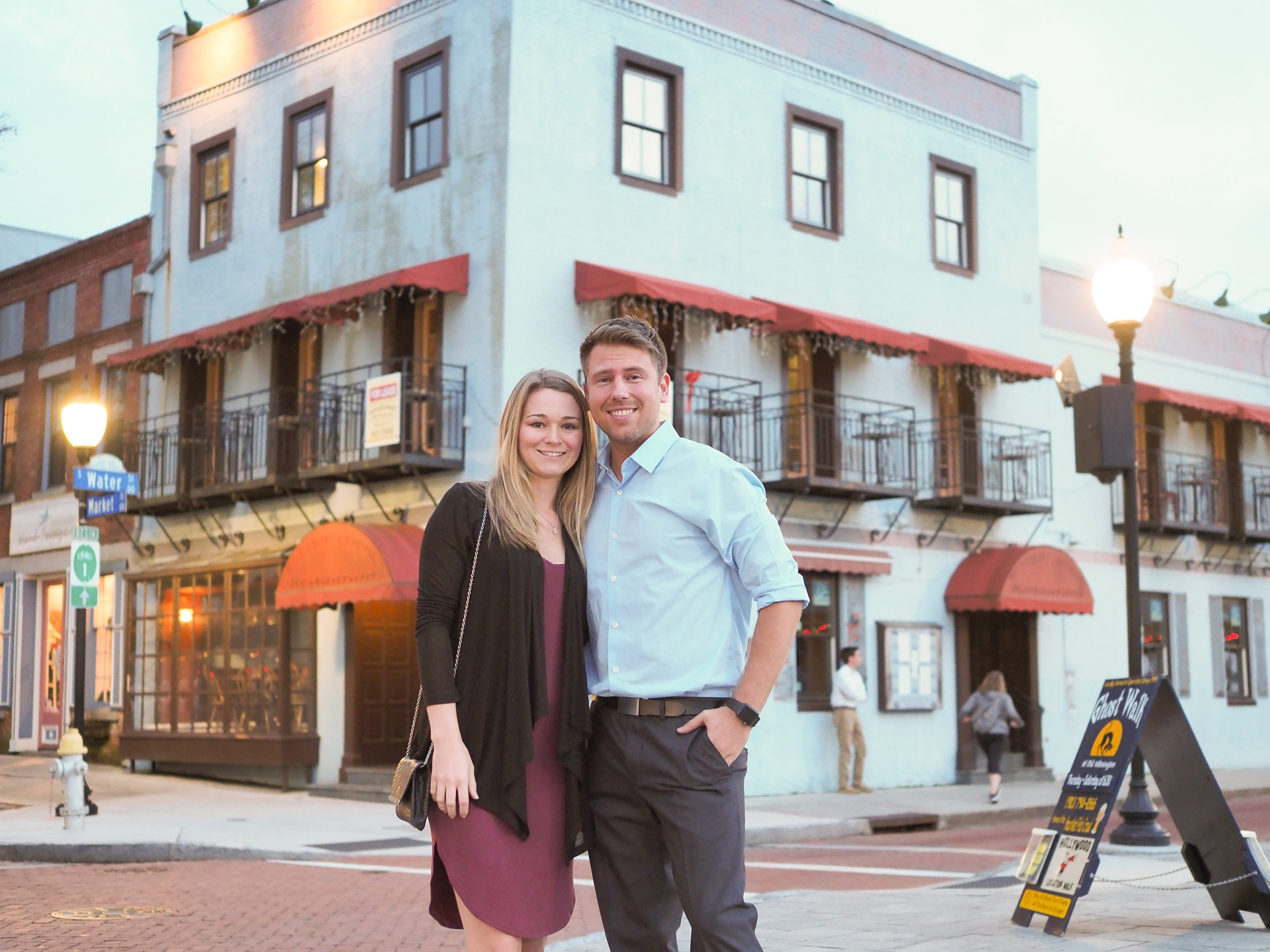 Pose - Posing for a photo in front of Riverboat Landing restaurant in downtown Wilmington, NC.