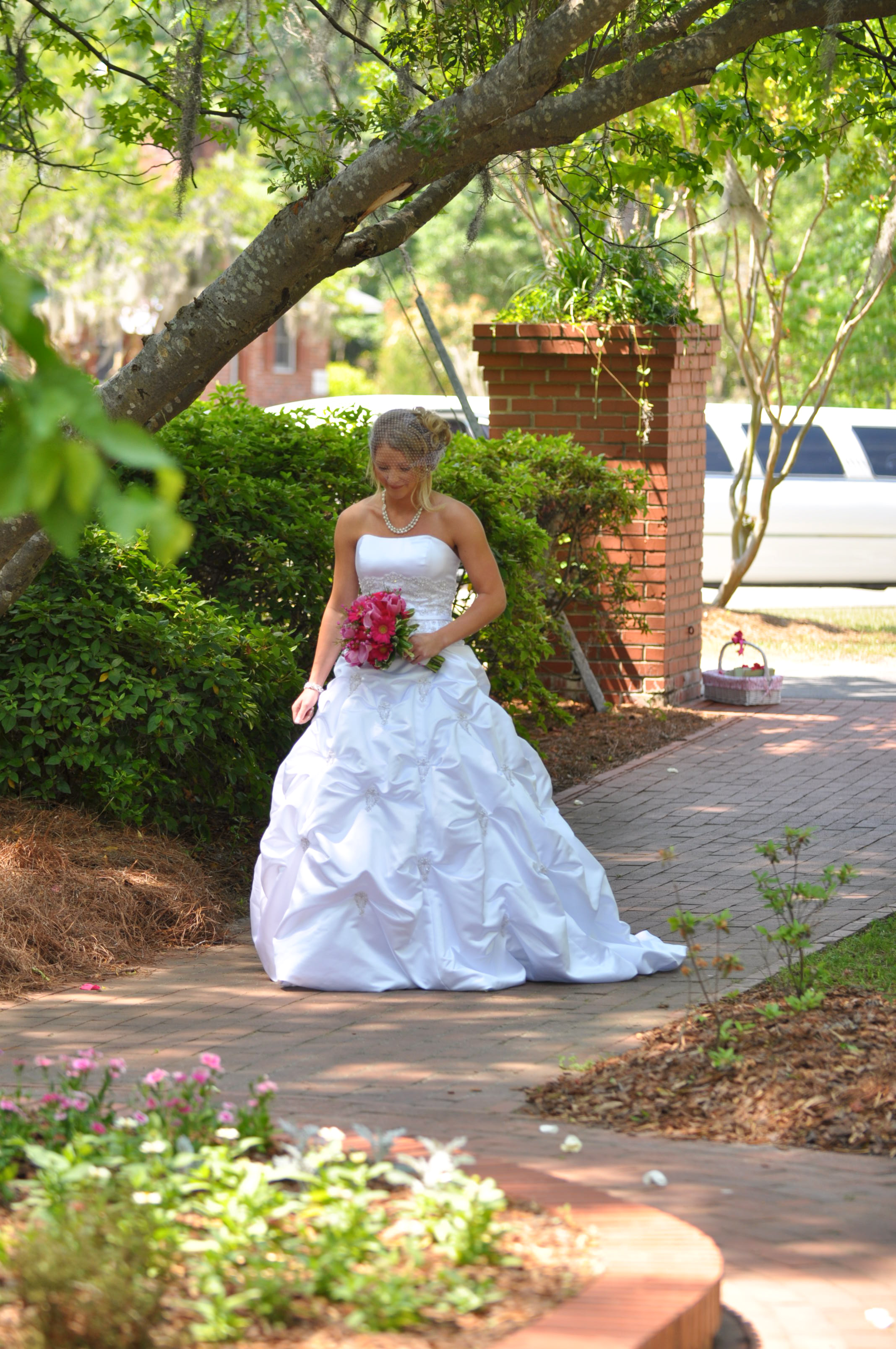 - Here comes the bride. Bride walking alone into Greenfield Lake Fragrance Garden in Wilmington, NC. Billy Beach Photography. Affordable Wedding.