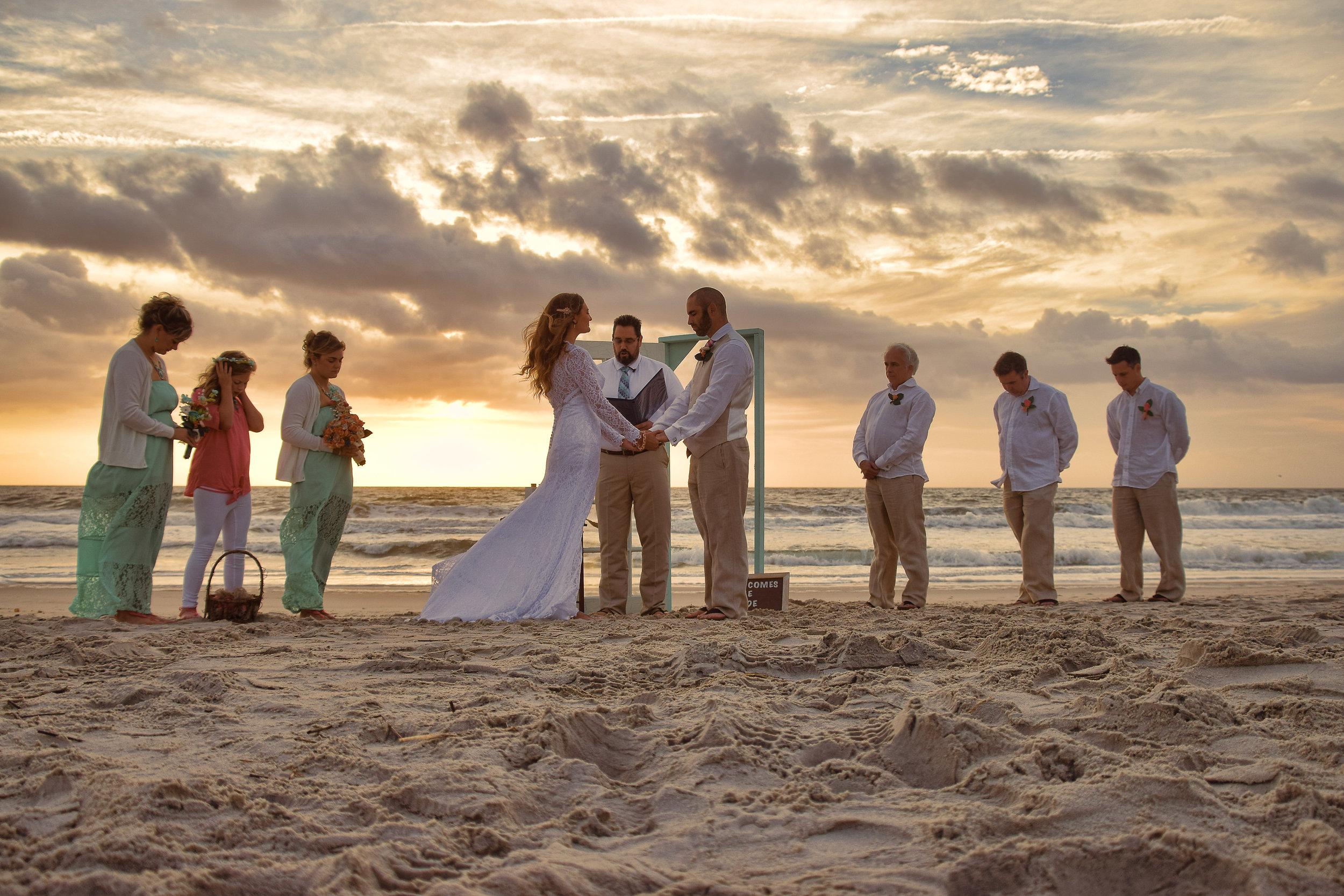 Sunrise - A simple sunrise wedding at Carolina Beach, NC. Billy Beach Photography.