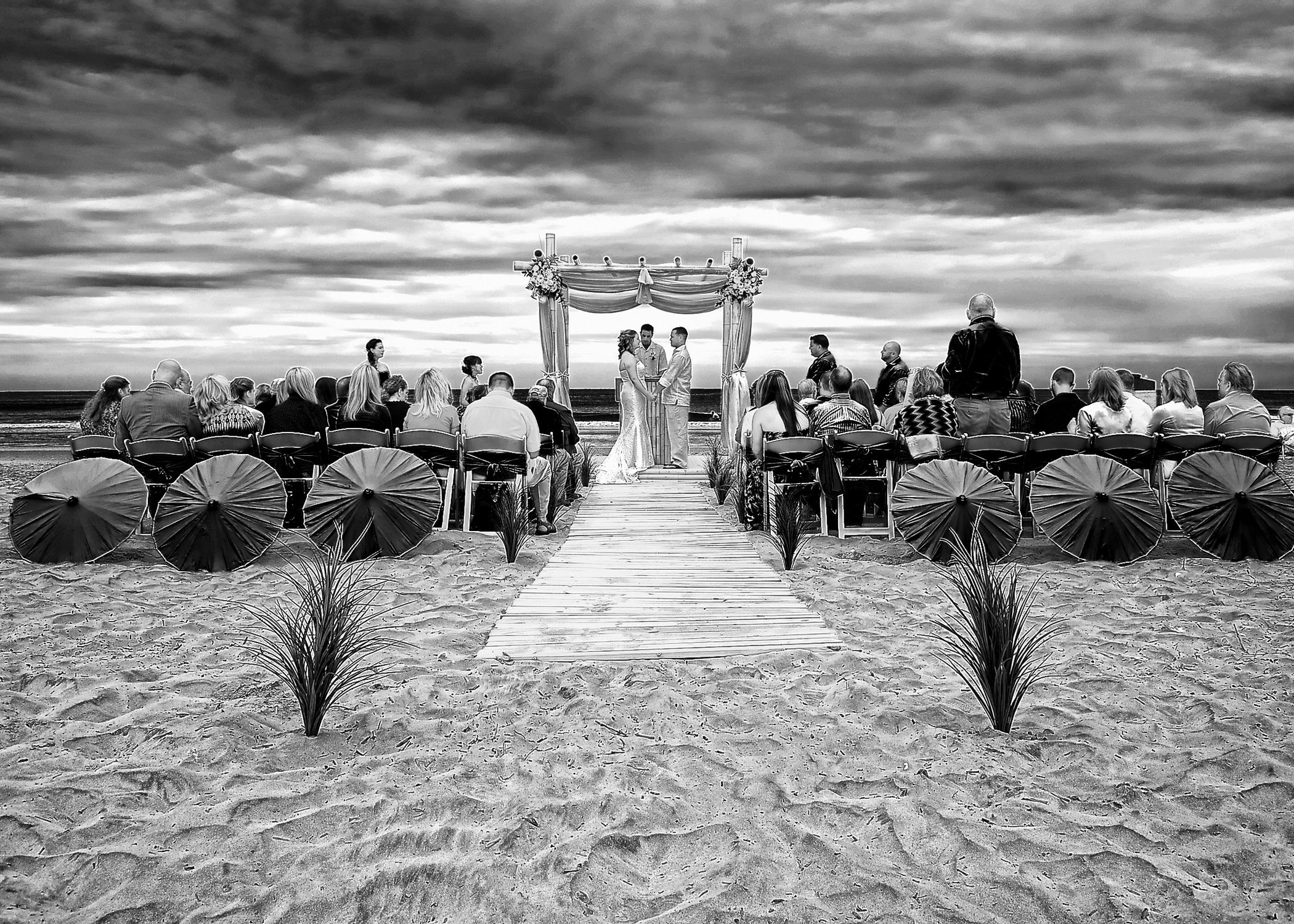 - Wrightsville Beach, NC Wedding. Monochrome. Billy Beach Photography. Setup by Beachside Occasions.