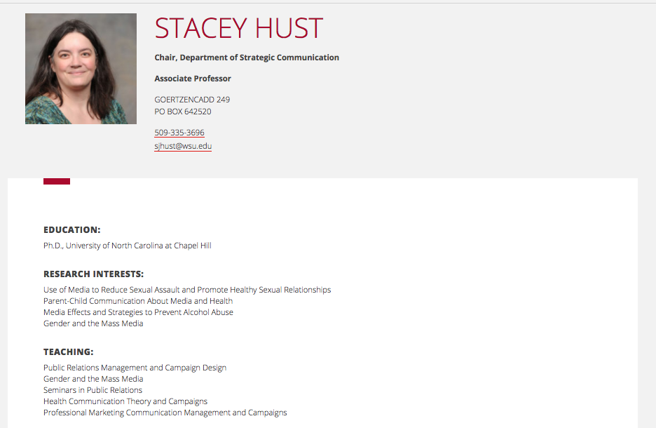 University Page - Visit Stacey's WSU Page
