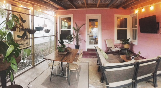 We just recently replaced the beige vinyl siding with horizontal wood paneling - pink, because I love it. We put up the TV and it's officially the coziest patio of all time.