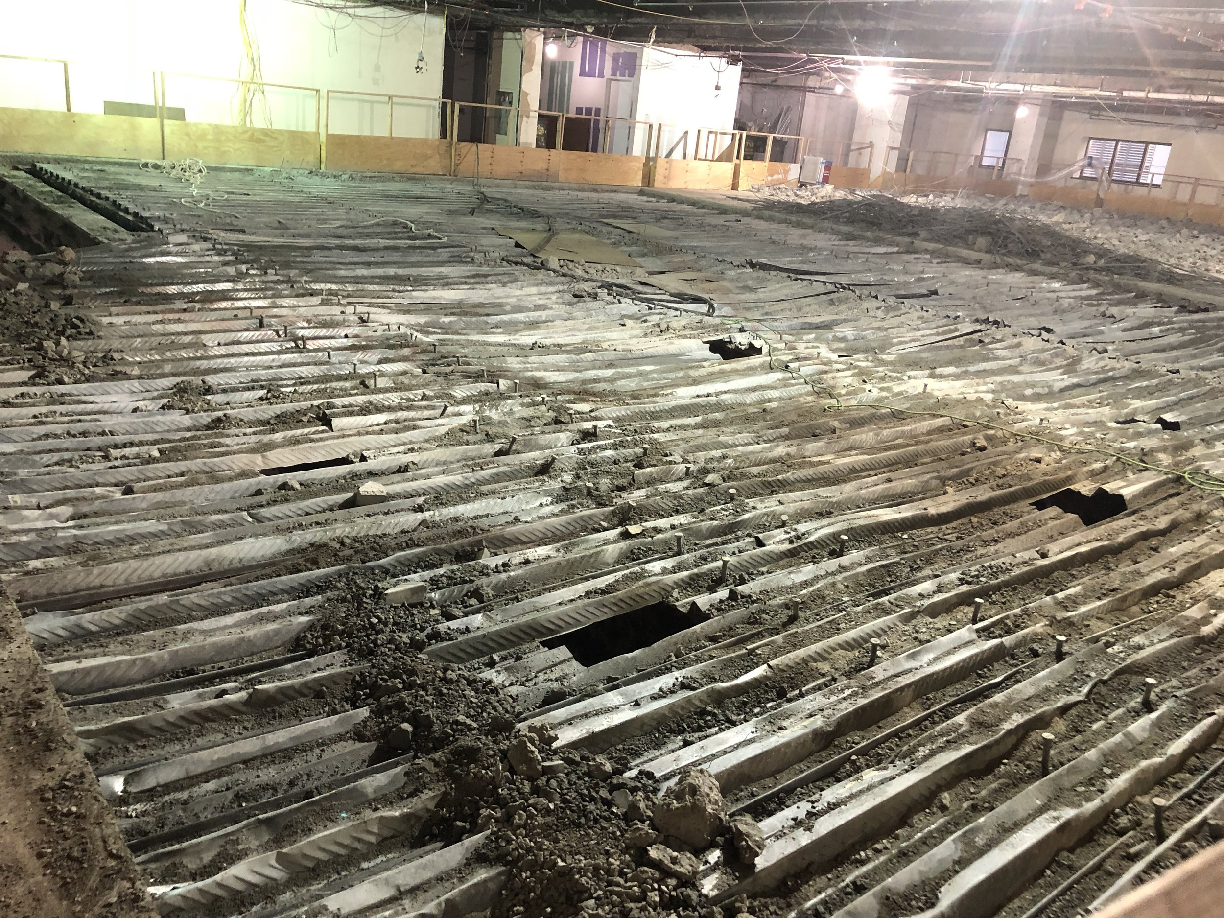 Concrete removed in Studio 11A, looking at the floor of 12th floor.