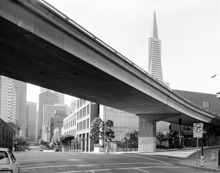 Broadway Onramp - Street Level. Embarcadero Freeway San Francisco, 1990