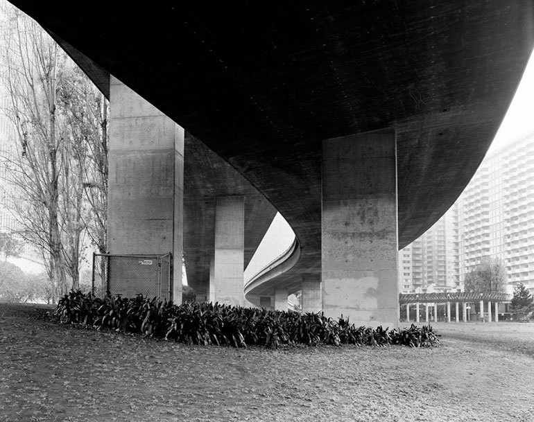 Washington Street on/off ramps - Ground Level. Embarcadero Freeway San Francisco, 1990