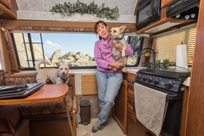 Debbie with Rupert and Elliot. Alabama Hills, CA