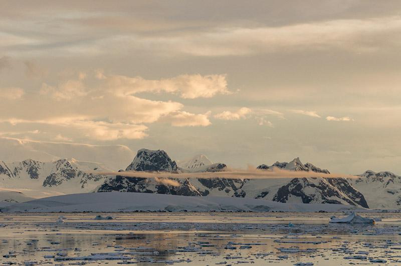 Anvers Island Mountains near Midnight. Antarctica