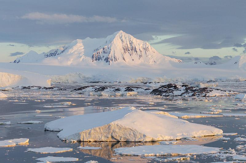 Mount William and Sea Ice Anvers Island, Antarctica