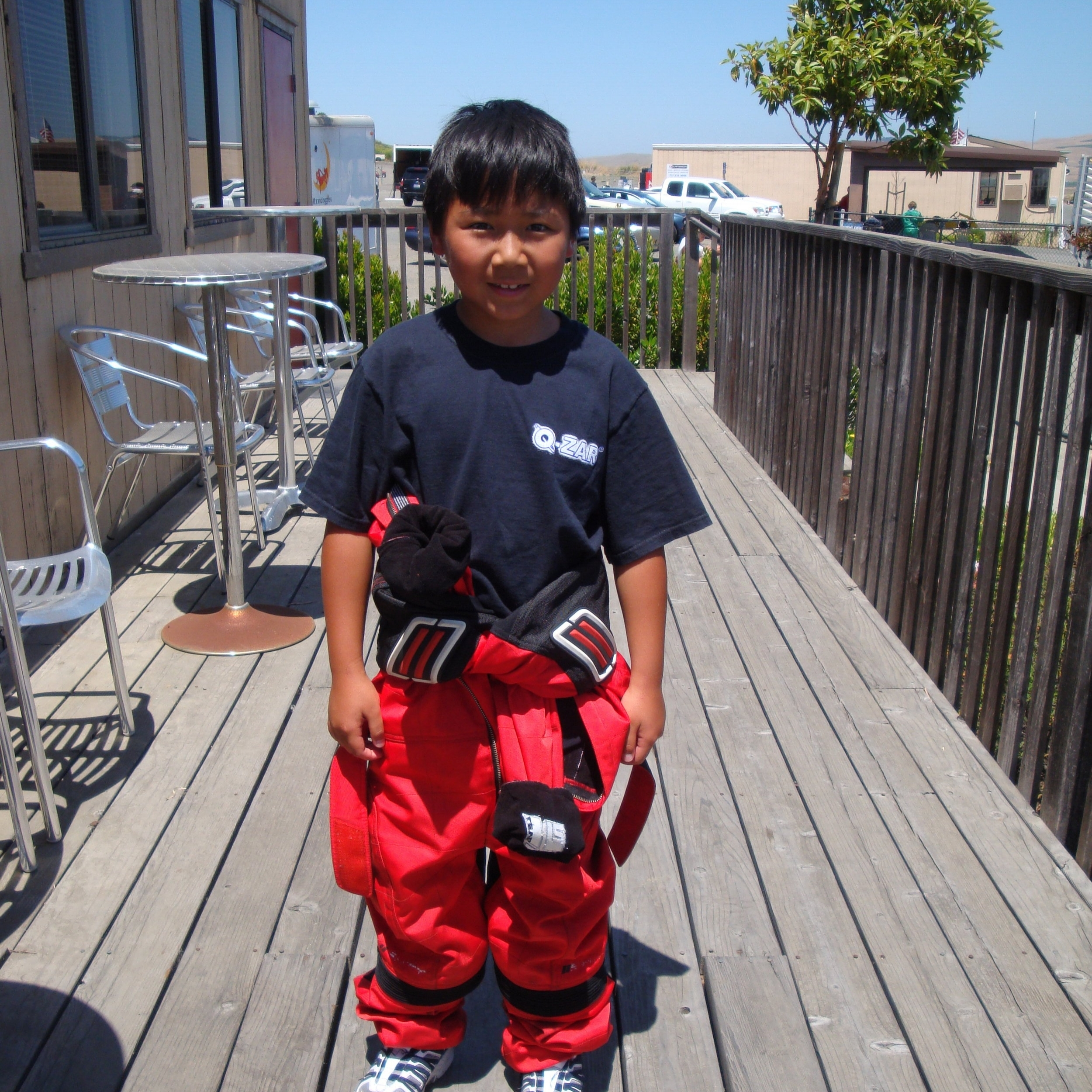 Ready for kart class, 8 years old