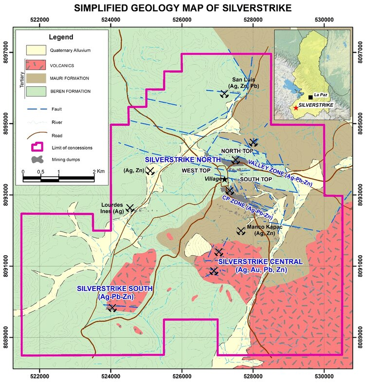Figure 1: Simplified Geological Map of Silverstrike Project