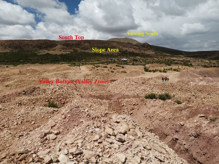 Photo 1: Extensive Mining Diggings and Dumps at the Valley Zone and the South Top