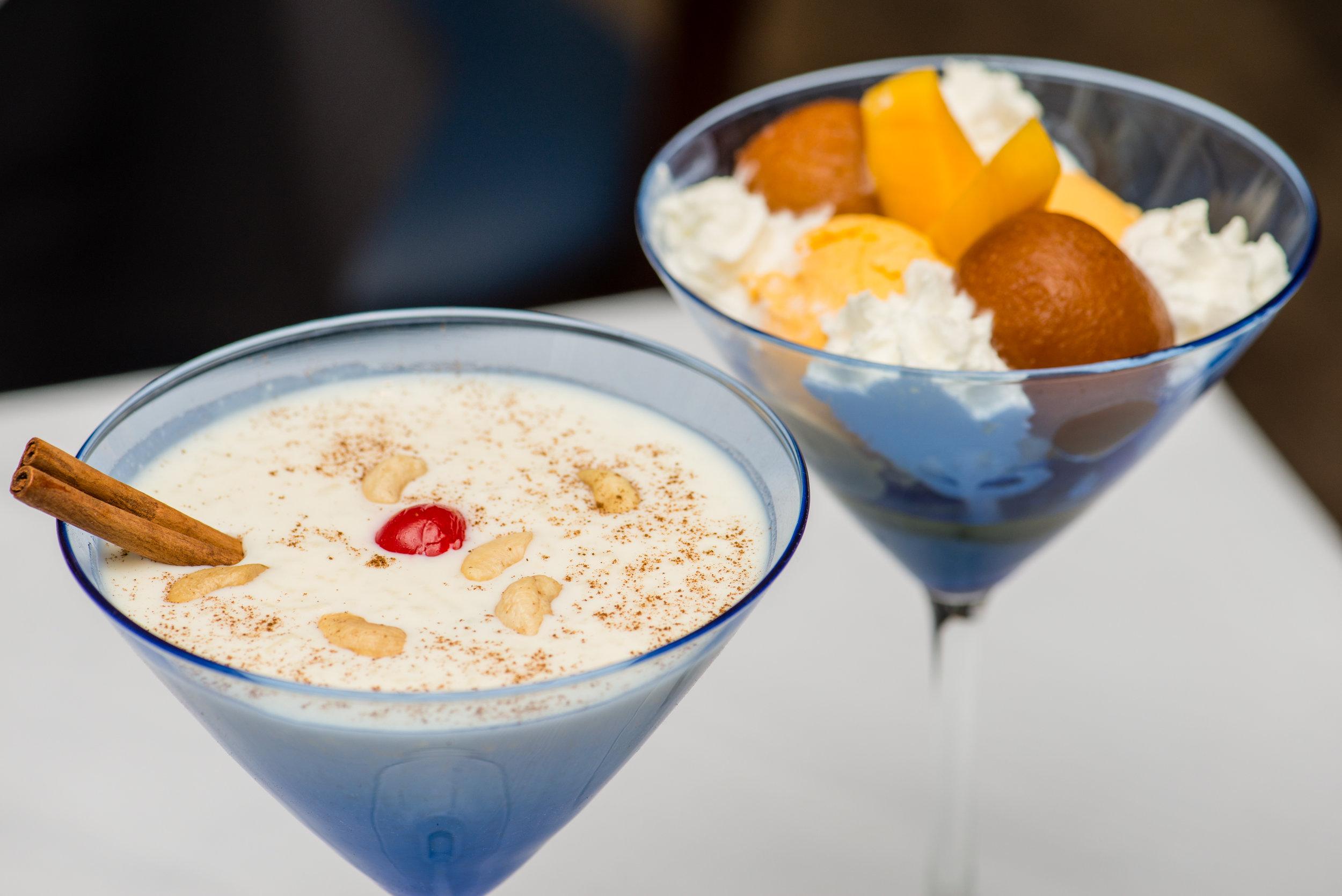 Rice Pudding (Kheer) and Mango Ice Cream with Gulab Jamun