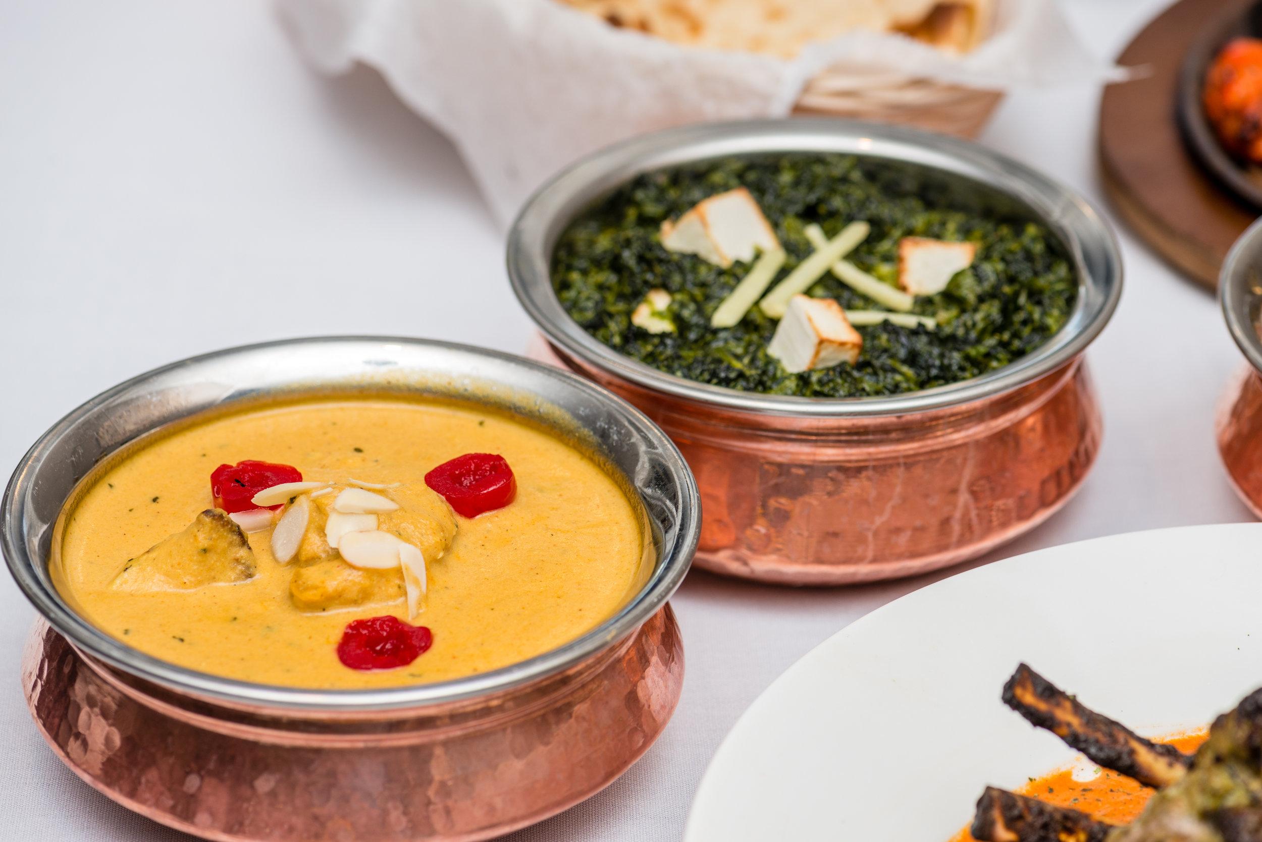 Chicken Korma and Saag Paneer