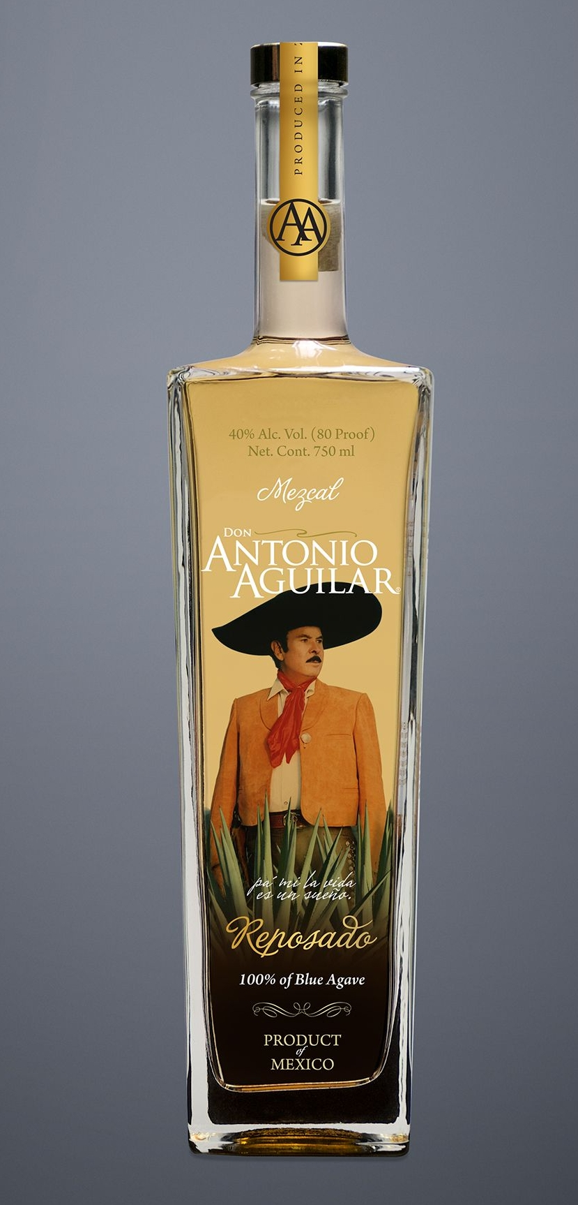 """MEZCAL ANTONIO AGILAR  is made with the same type of agave that Tequila is made with, tequilana Weber also known as blue agave. However, it can not be call Tequila because it is produced outside the restricted area protecting the Tequila denomination. Antonio Aguilar is a Mezcal from Zacatecas.  """"El Charro de México"""""""
