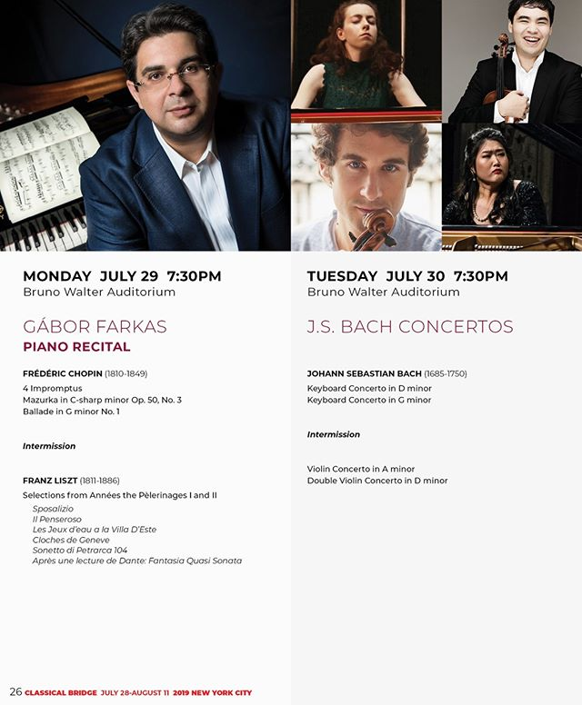 GET YOUR TICKETS NOW for ClassicalBridge Festival Concerts in New York - July 28- August 10, 2018 TICKETS: https://www.classicalbridge.org/concerts-2019  Check out the whole list of performing artists:  https://www.classicalbridge.org/artists-2019