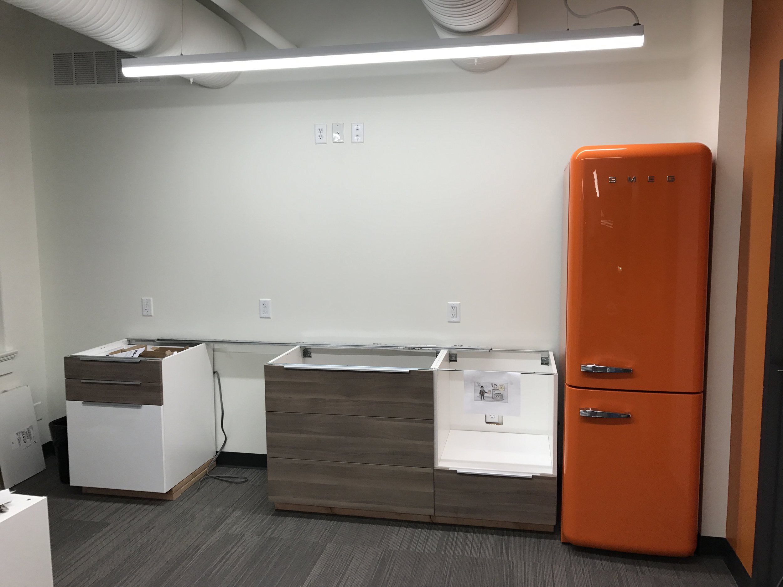 The office kitchen during construction