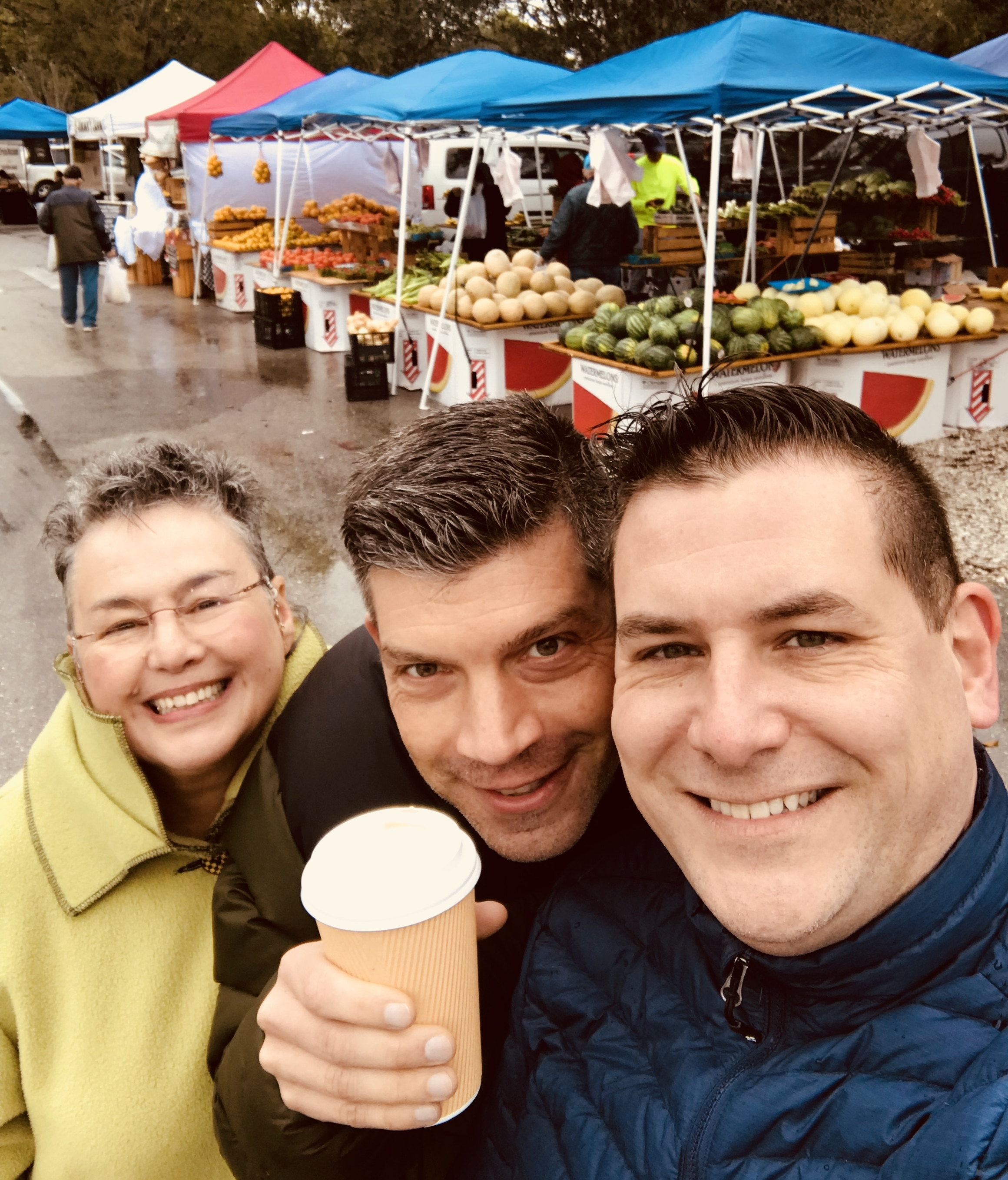 """Becka, John and Rod at the """"winter"""" farmer's market in Fort Myers"""