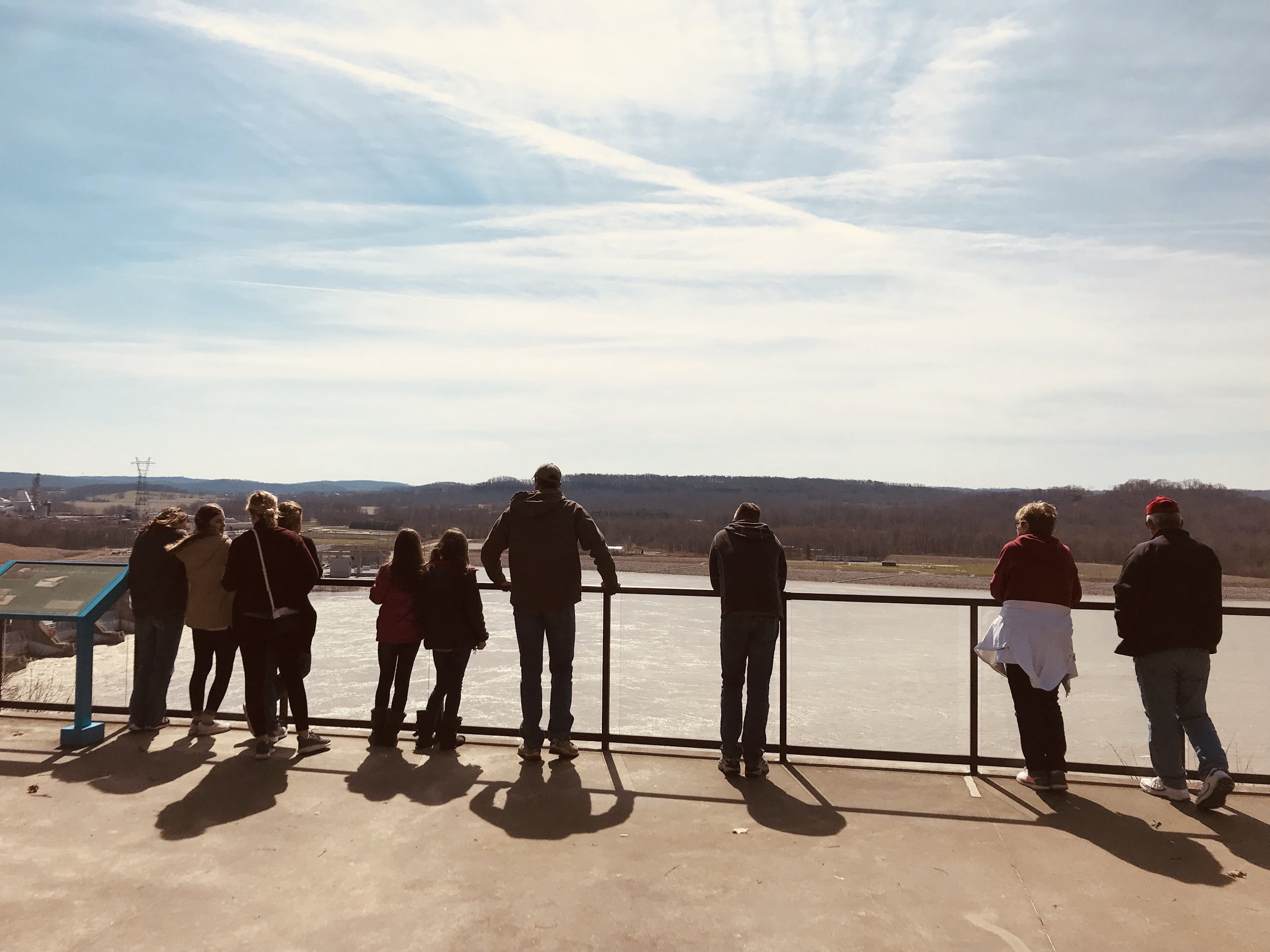 Overlook of the barges on the Ohio River