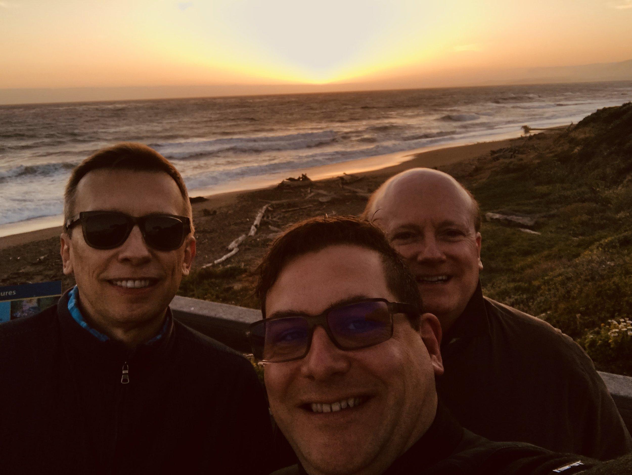 Randy, Rod, and Leonard at sunset