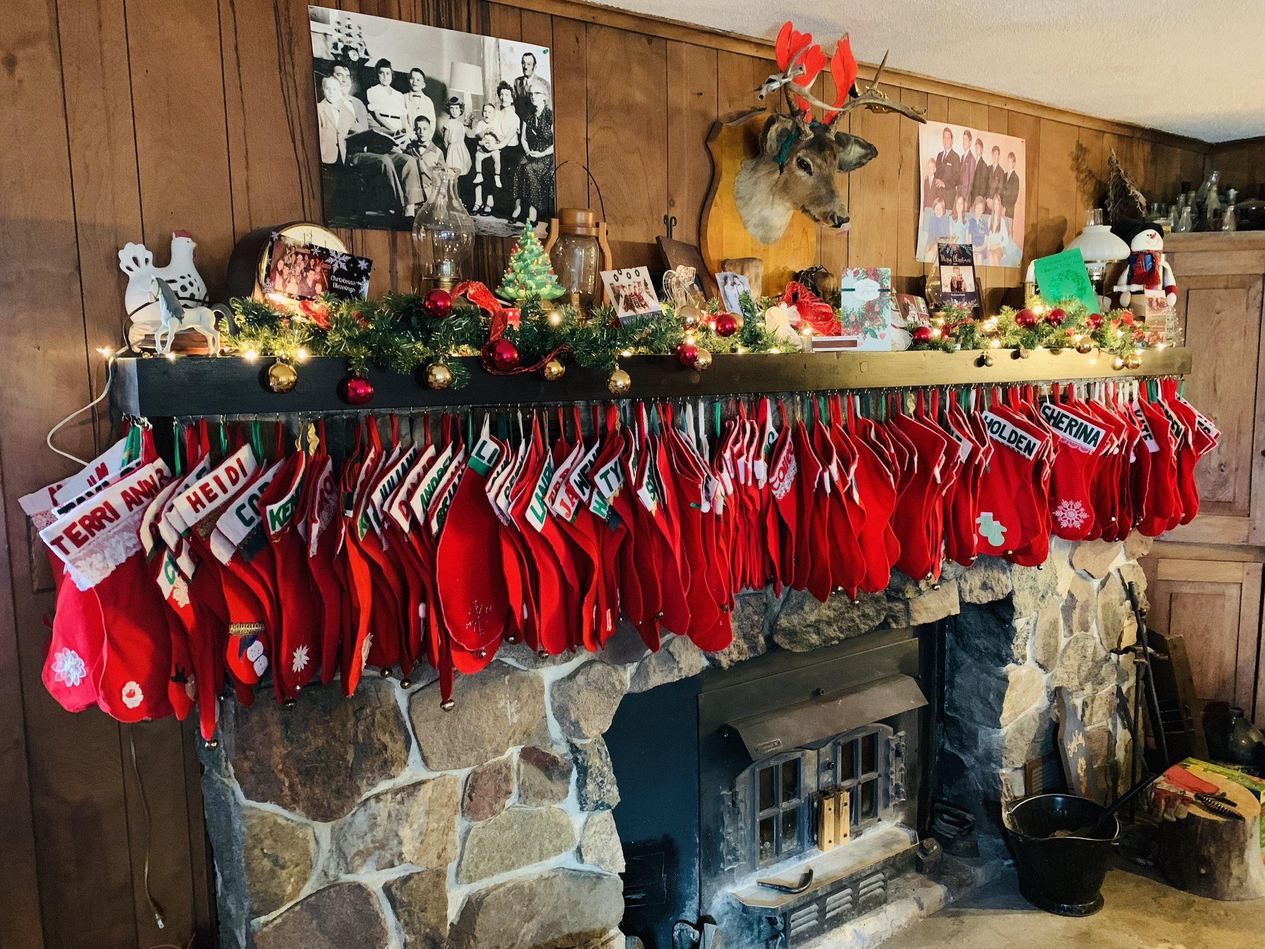 134 Stockings on my grandmother's fireplace this year