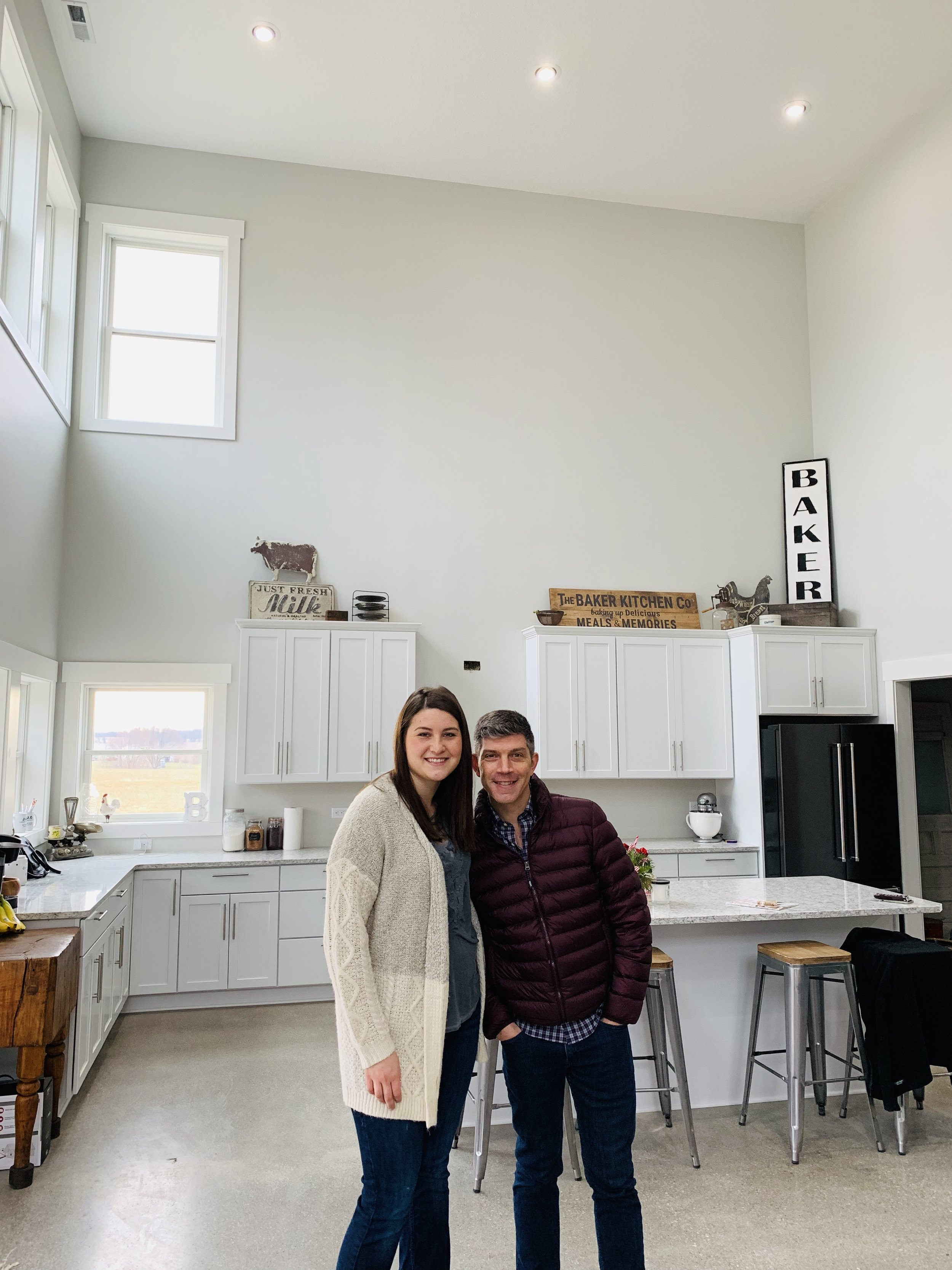 Niece Taylor and John in the kitchen of her NEW HOME!