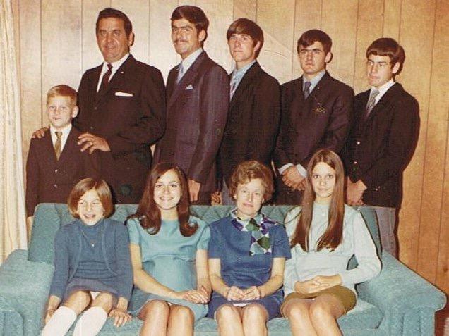 l to r: Mark, Marsha, Grandpa, Sharon, Lew, Chuck, Grandma, Jim, Colleen, & Tim.