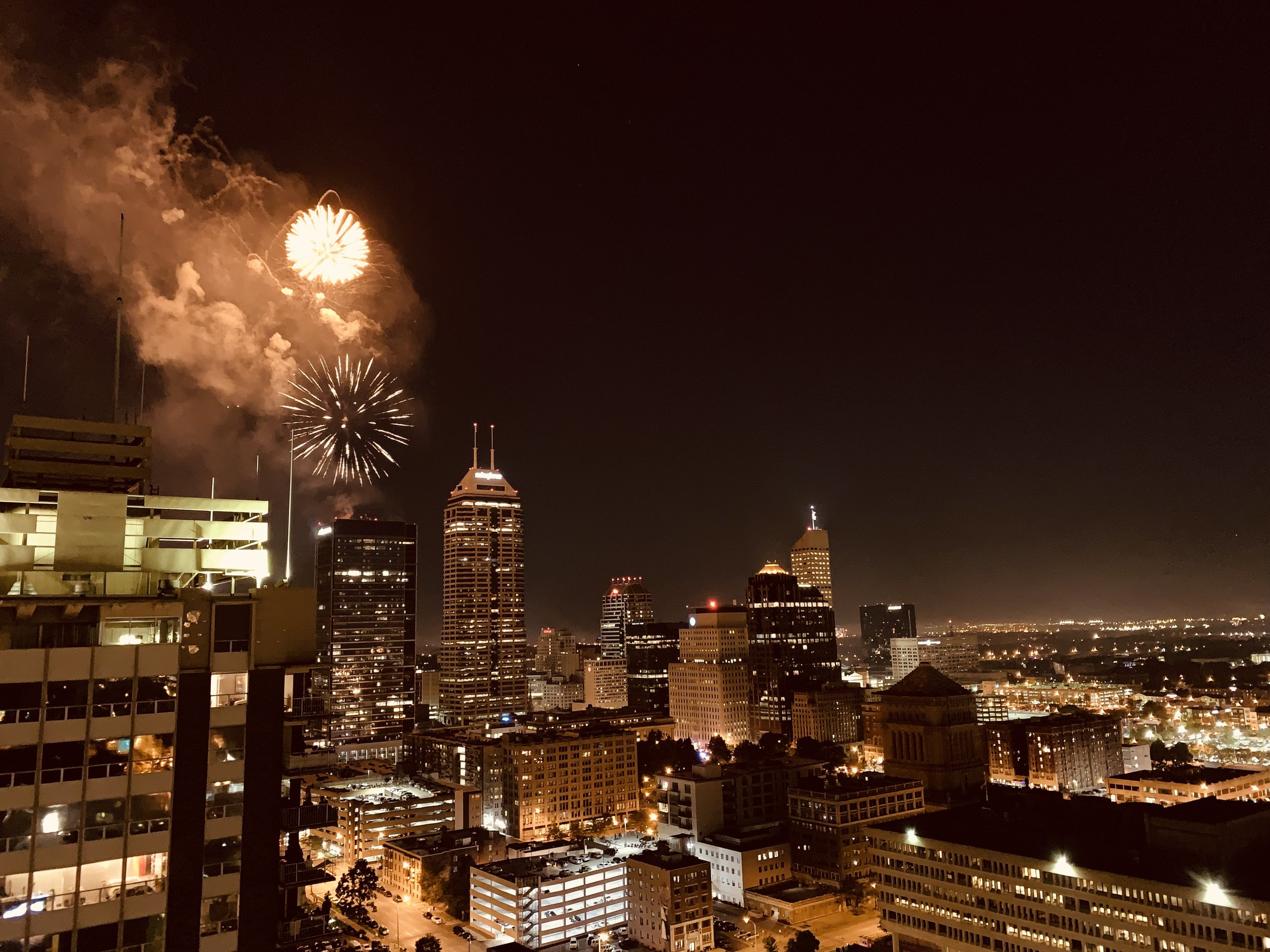View of the fireworks from the top floor of the Riley Tower