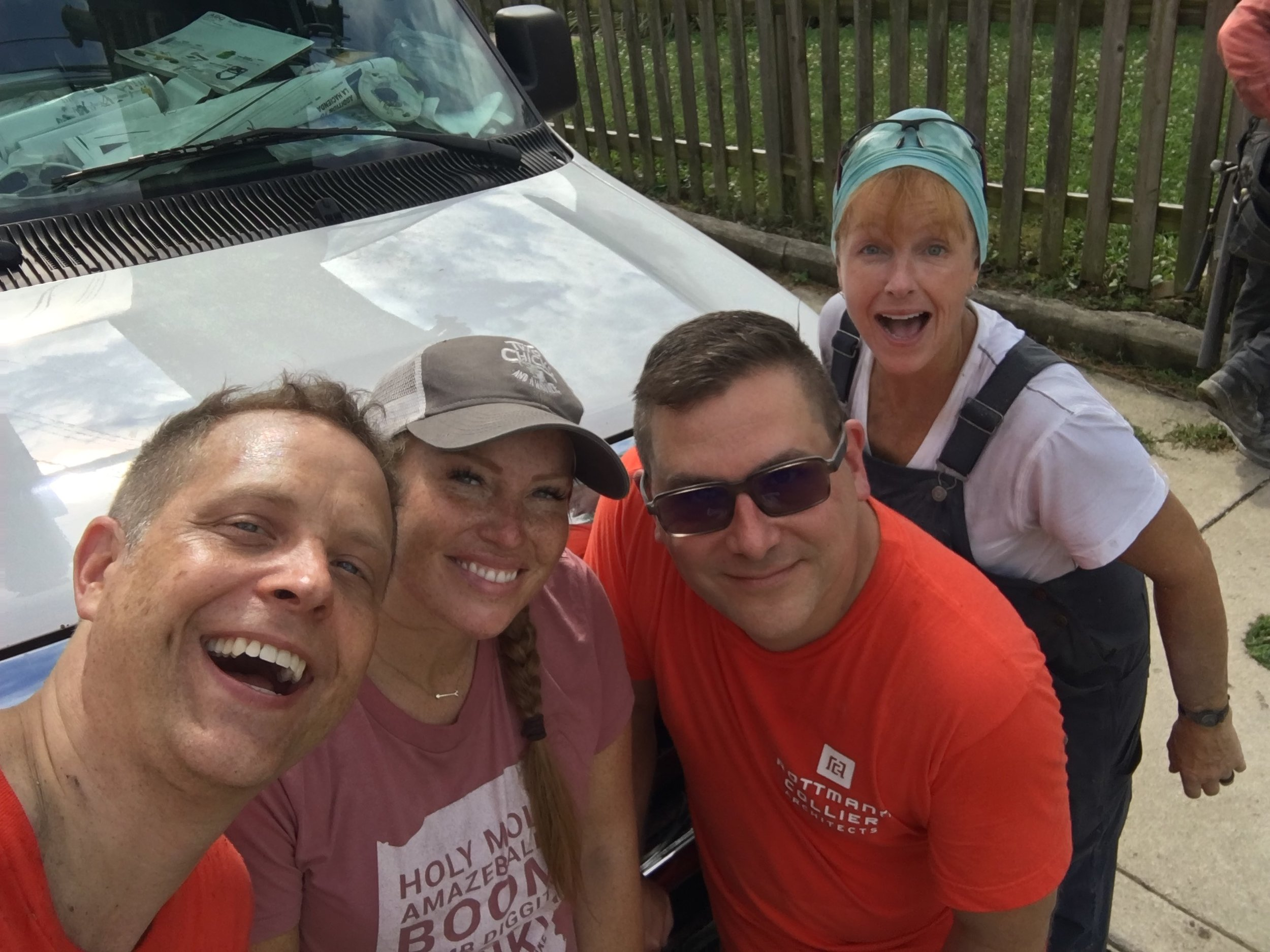 Todd, Mina, Rod, and Karen on demolition day for HGTV's Good Bones