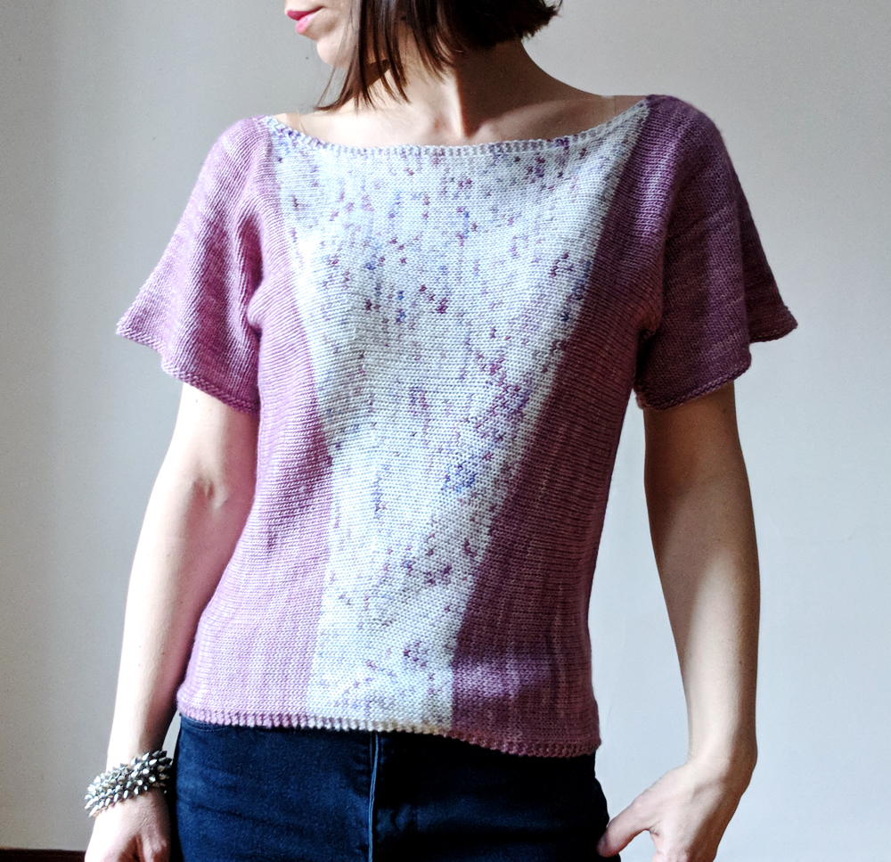 "Short sleeve version shown in Knitting It Up Kensington in MC: Sunday Morning and CC: The Crown. Size 37"" with 2""+ ease."