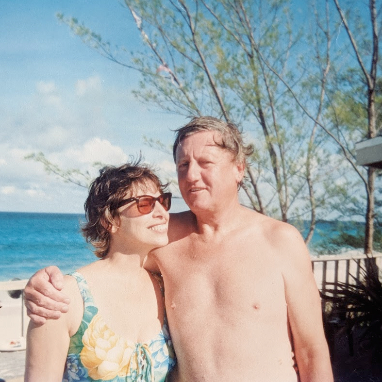 My parents on the beach in Marsh Harbour, 1994-ish.
