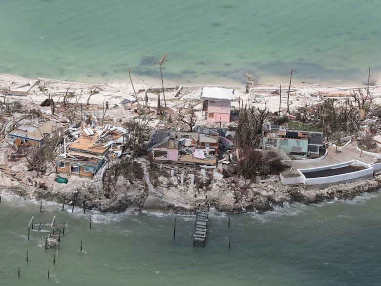 Sandy Cove, center, post Hurricane Dorian. The little pink building in the back was my Dad's writing studio.