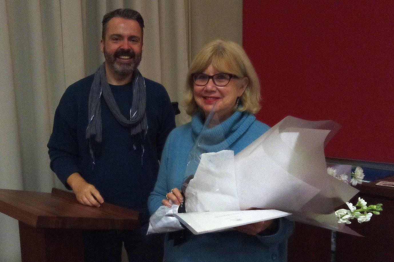Carol McKirdy receiving the NSW Excellence in Community History Award from Scott McKinnon, Oral History NSW. History House , Macquarie St, Sydney 8/9/2018