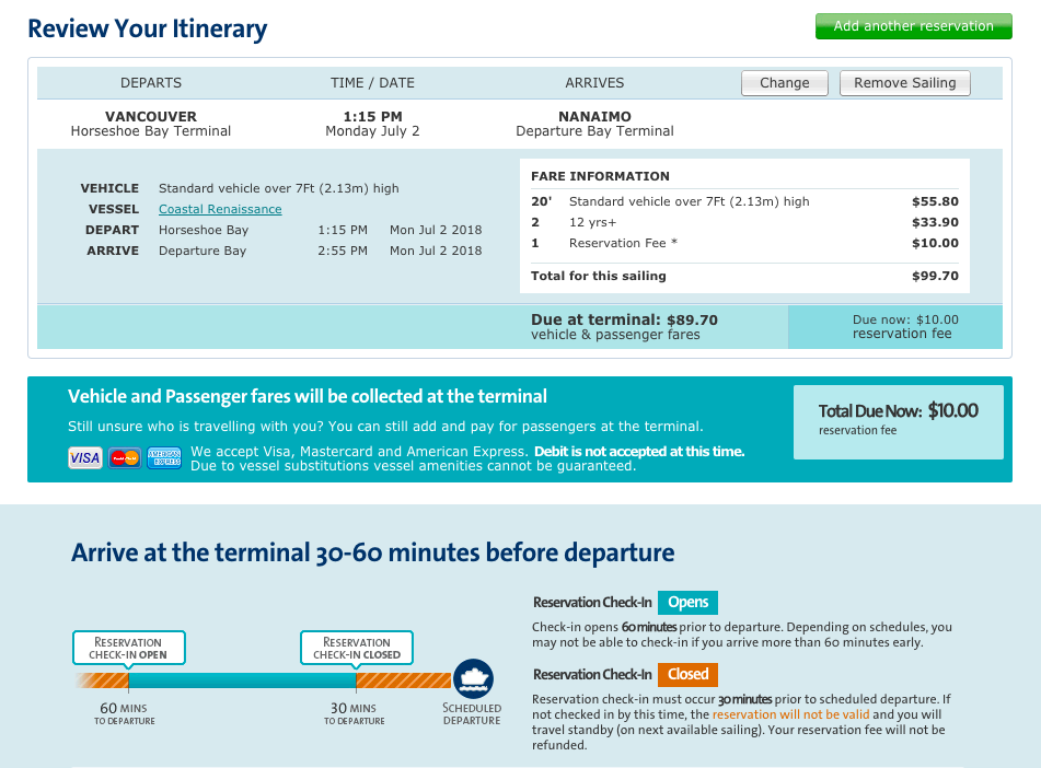 Photo: BCFerries.com,Sample Reservation, 2 Adults