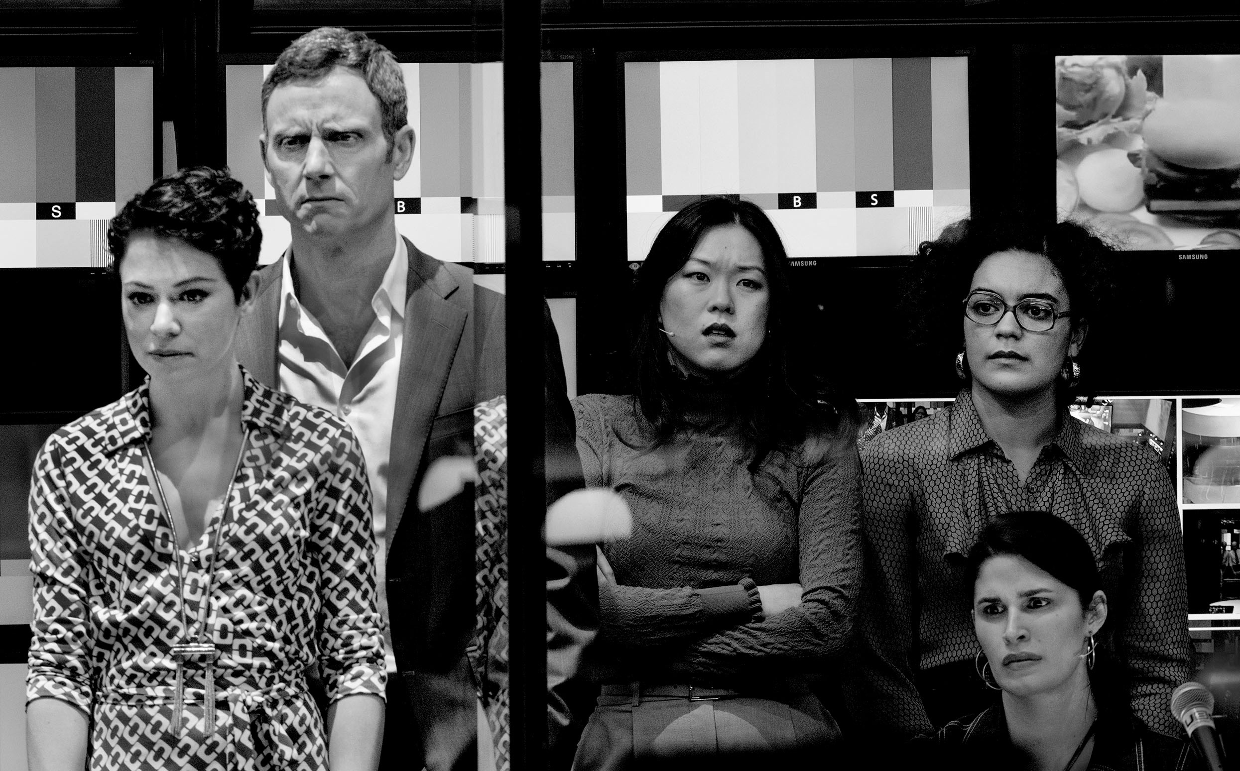 Network   Directed by Ivo van Hove  Costume Design by An D'uys  Scenic & Lighting Design Jan Versweyveld  Video Design by Tal Yarden  Photo by Jeff Widener