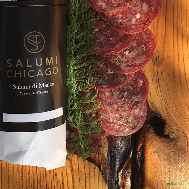 We're super happy with the rich and flavorful products coming out of the new, Salumi Chicago. Their Texas Wagyu Beef salami with red wine and peppercorn was made just for us, and it was a huge hit with our customers last weekend. We're re-stocked for this weekend's Easter shoppers. Salumi-maker Greg, adds in a little red wine vinegar as part of the curing and fermentation process. Each salami is wrapped in a silk and cotton blended casing for breathability and cleanliness.  Available this week at our San Diego market stands:  Sat: Little Italy Sun: Hillcrest  Wed: Carlsbad . . #curedmeats #salumi #salami #sandiego #smallgoods #wagyu #wagyubeef  #sdlife #charcuterie #epicuriousclub #uncured #fermentedfoods #wagyusalumi #farmersmarket  #drycured #cheeseclub #sandiego #madeinamerica #artisanfoods #eatersd #epicuresandiego #salumichicago #sandiegofarmermarkets #sdmag #sdfoodie #smallgoods_