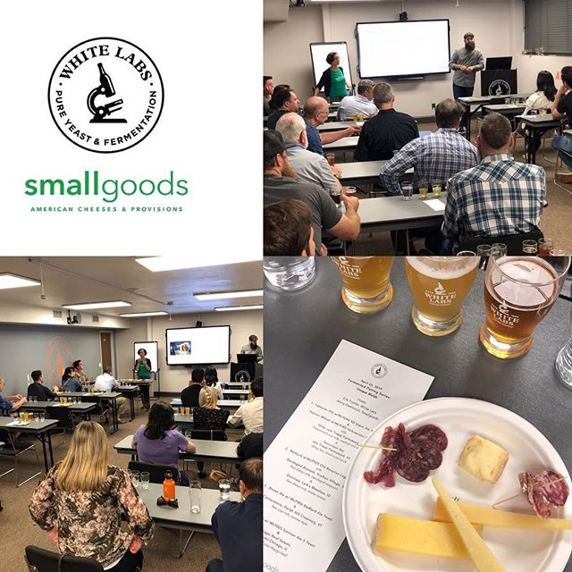 Last night's Fermented Pairings series with @erikbeerandbbq from @whitelabstastingroom was lot of fun. Paired with the really interesting range of White Labs beers were our American, artisan products from @larksmeadowfarm @graftoncheese @parishhillcreamery and two products from @vontrappfarmstead - both their Oma, washed rind cheese, and their Sauccison Sec salami. And, last but not least, the attendees were treated to our latest cured meat: Wagyu Beef, from @salumichicago paired to White Labs Altbier w/German Ale Yeast.  Thanks for the pics, Tara!  #beerpairing #sandiegoevents #craftbeer #americancheese #curedmeats #fermentedpairings #beerandcheese #beerandsalumi #whitelabs #ericneedsaslicer