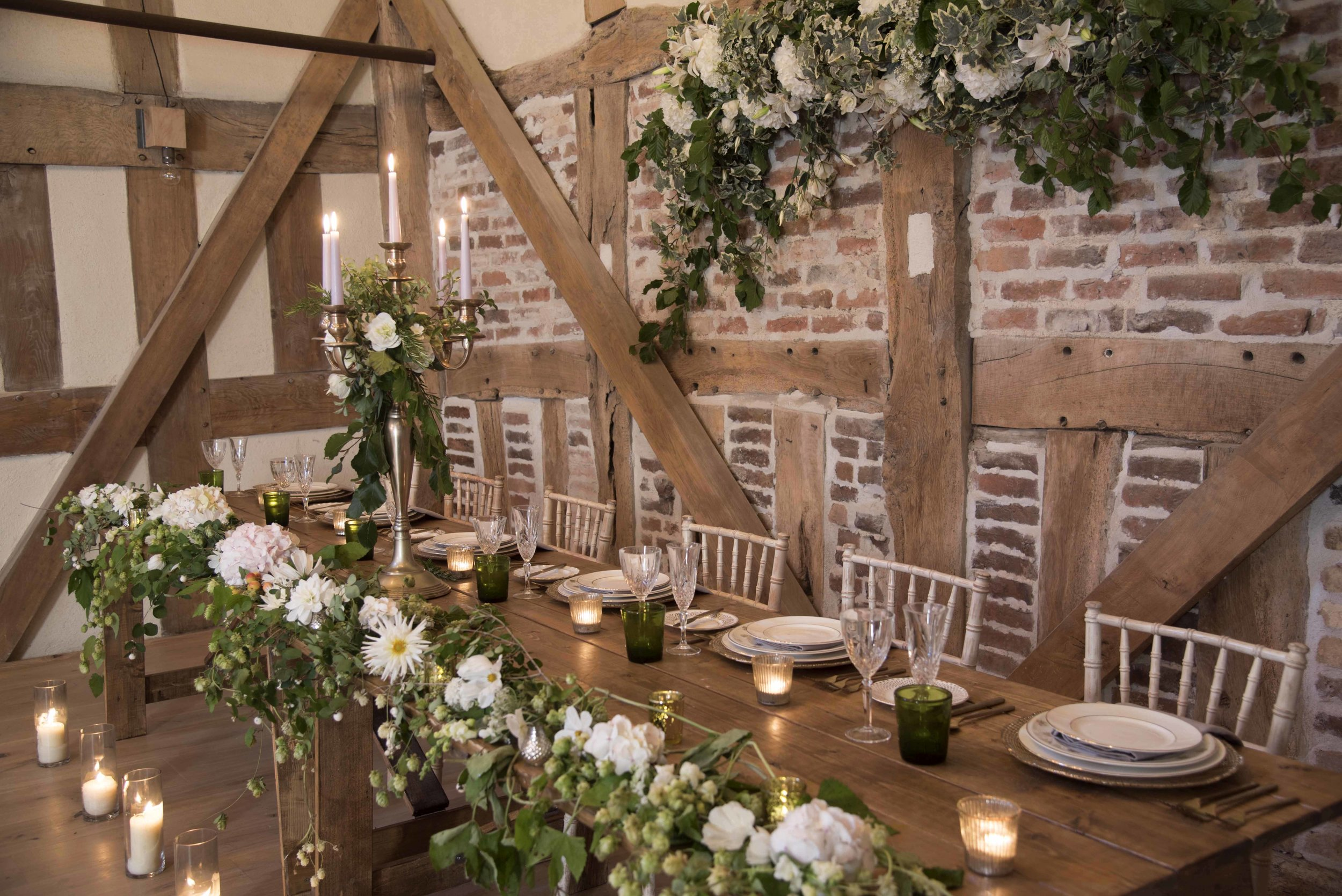 Country wedding style top table with white flowers.jpg