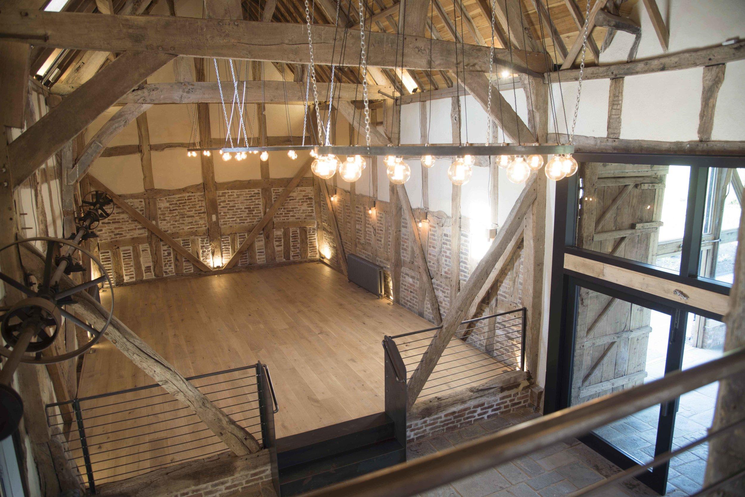 High viewpoint of the Threshing Barn at Barns and Yard Wedding Venue.jpg