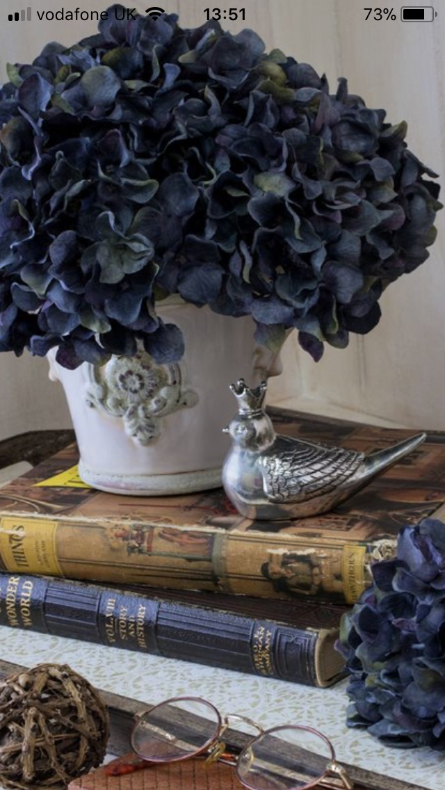 Faux Hydrangea and Books.jpg