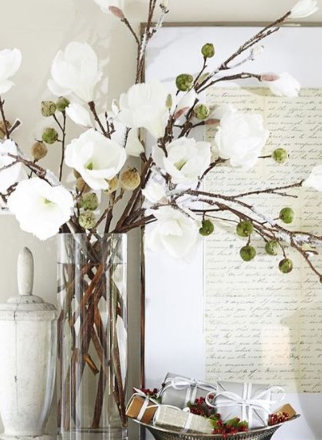 Faux Magnolia in Glass Vase.jpg