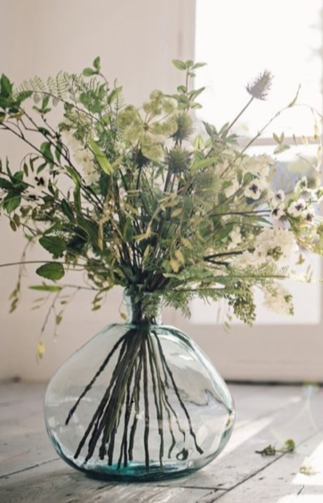 Natural Faux Arrangement in Glass Vase.jpg