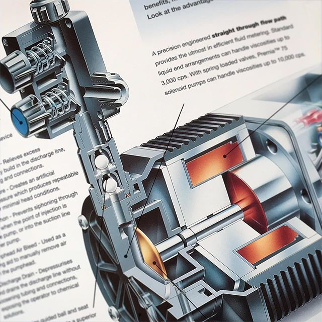 One of the last Airbrush pieces we created for Wallace & Tiernan before computers took over... • • • #waterpump #waterpumps @evoqua_ausbildung #wallaceandtiernan #airbrush #airbrushartwork #airbrushart #technicalillustration #manchestercreatives #cutaway #illustration #illustrations #illustrationstudio