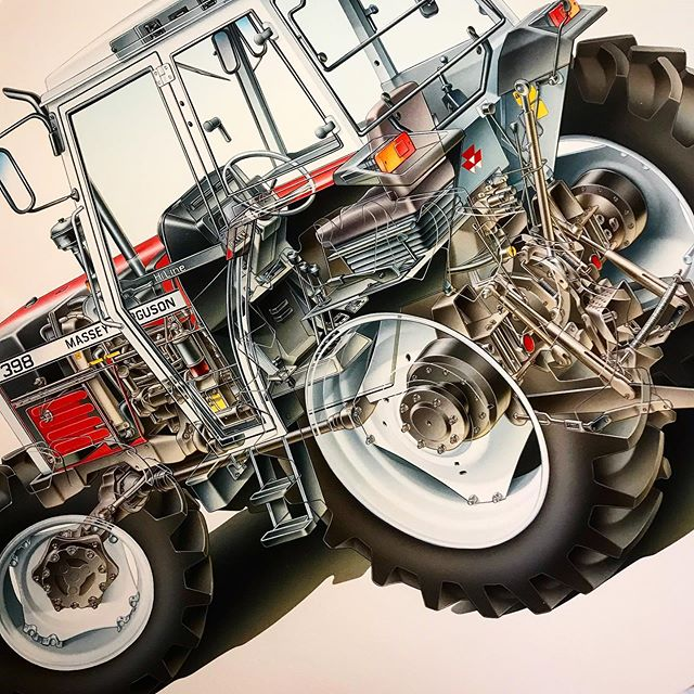 Airbrush artwork we created back in the early 90's.... One for all the vintage tractor fans! • • #masseyferguson #vintagetractor #manchestercreatives #technicalillustration #airbrush #airbrushart #illustration #illustrator #creativestudio #cutaway #cutaways #vintagetractor #masseyferguson398 #farmingmachinery #cutawayillustration