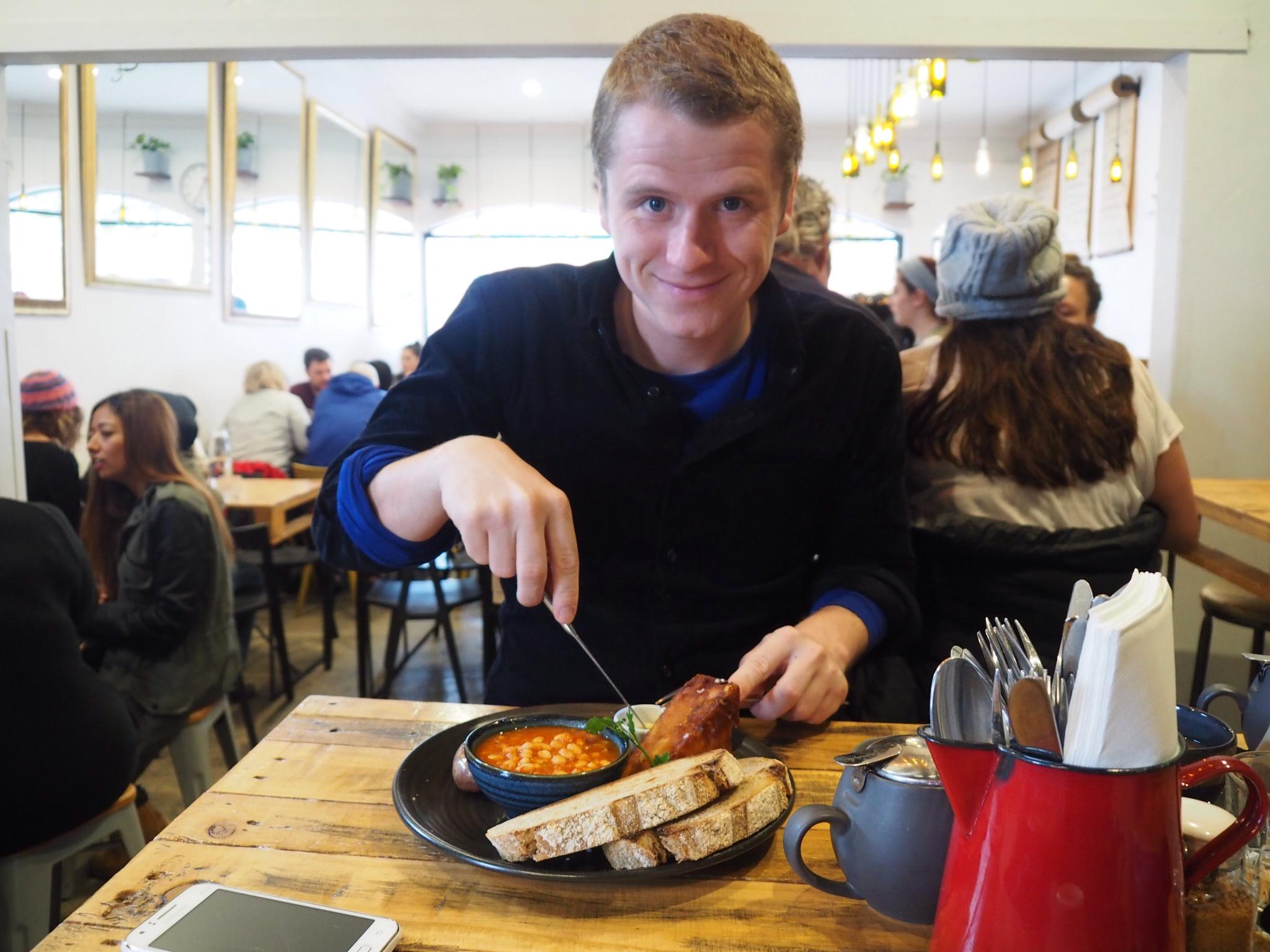 Vincent enjoying his breakfast