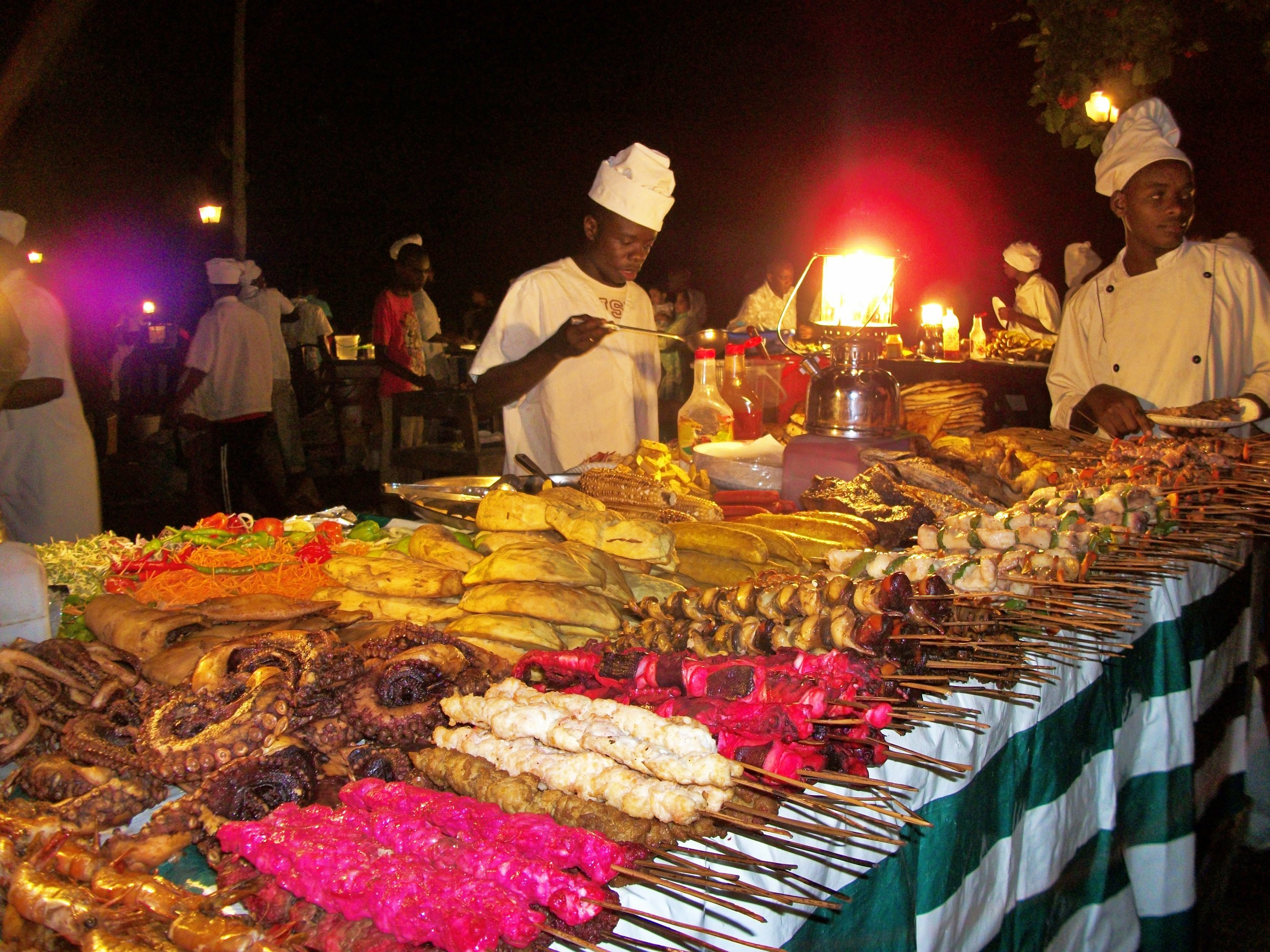 I generally don't eat boring, bland food…so I decided to just use this picture of super exciting food in Zanzibar instead. Don't eat this kind of stuff after a tummy bug. You have been warned.